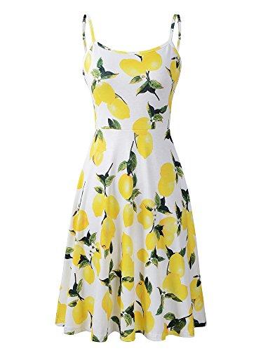 Luckco Damen ärmelloses Kleid mit verstellbaren Trägern, Sommerkleid, Blumenmuster, ausgestellt, Swing-Kleid - - Groß