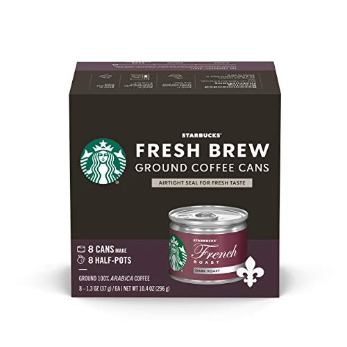 Starbucks Dark Roast Fresh Brew Ground Coffee Cans — French Roast — 4 boxes (32 cans total)