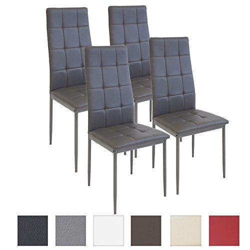 Albatros Silla Rimini, Set de 4 sillas, Gris, certificada por la SGS, Silla de Comedor