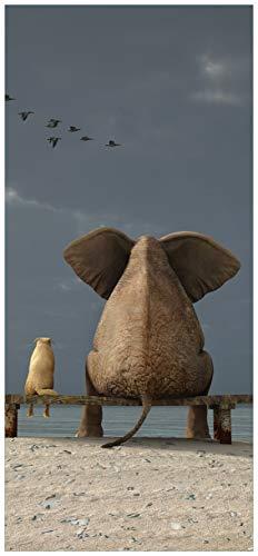 posterdepot ktt0386 deurbehang deurposter olifant en hond zitten op een bank-afmeting 93 x 205 cm