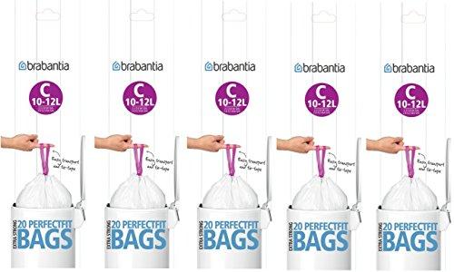 5 paquets de 20 sacs poubelle Brabantia - Très résistants - Ajustement parfait - 10 - 12 L