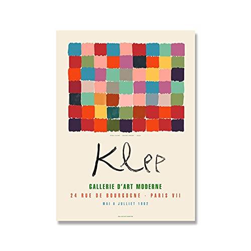 YYAYA.DS Impresión de Lienzo Carteles de Estilo Abstracto clásico de Paul Klee decoración Moderna Pintura de Acuarela exposición Impresiones en Lienzo Arte de Pared 60x90cm