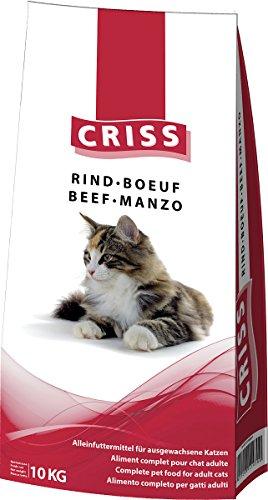 CRISS Manzo 10 kg - Croccantini per Gatti Adulti - Made in Germany - Cibo Secco Gatto, mangime, alimento Completo Gatto, Alta qualità, 10000 gr
