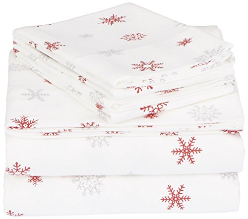 Pinzon Cotton Flannel Bed Sheet Set - King, Falling Snowflake Merlot