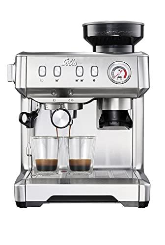 Solis Grind & Infuse Compact 1018 - Cafetera Express con Molinillo Incorporado de Café y Espumador de Leche - Cafetera Acero Inoxidable Semiautomática - Gris