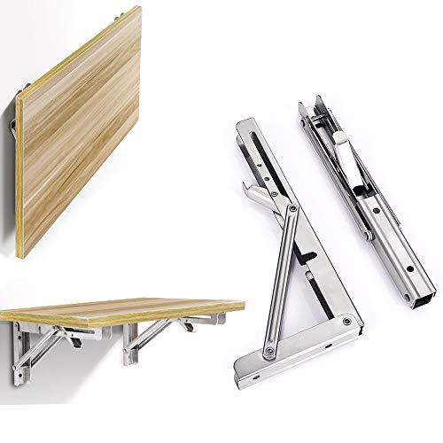 2 x faltbare Regalhalterungen, maximale Traglast: 150 kg, robuster Edelstahl, zusammenklappbar, Regalhalterung für Tisch, Werkbank, platzsparende DIY-Halterung (30,5 cm)