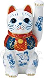 染錦開運招福招き猫(手長左手上げ 4.5号) AM-Y7480
