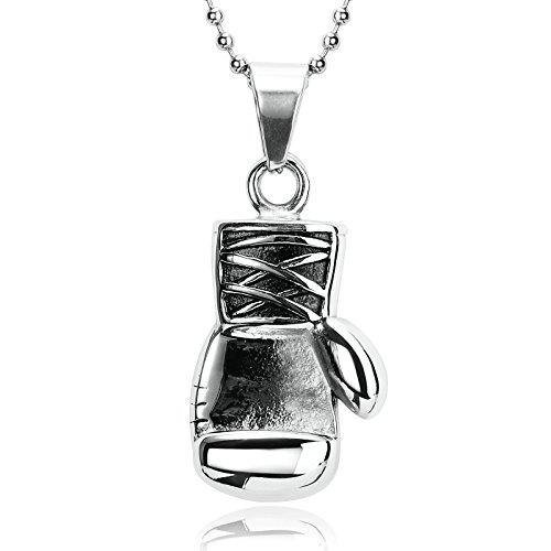Aienid Schmuck Herren Kette Edelstahl Schwarz Silberkette Totenkopf Boxhandschuh Für Männer Silber Schwarz Anhänger