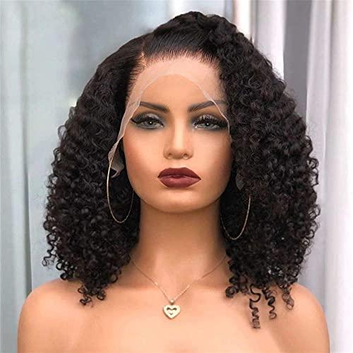 Peluca del cabello humano del frente del encaje rizado para las mujeres Brasileño Virgin Peluca del cabello humano Lamera frontal del encaje sin glóbulos con el bebé corto BOB WIG PELO DE PELO PEQUEÑO