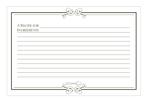 C.R. Gibson Black and White 'Gourmet' Blank Recipe Cards, 40pc, 4'' W x 6'' L