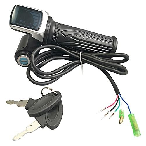 F-Mingnian-rsg Terreno de Bicicletas para el Acelerador de Bicicletas eléctricas 3 6V 48V Manija de Gas Acelerador LCD Mostrar Llave de Bloqueo (Color : Black)