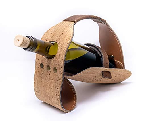 Botellero Individual para Vino | Original de Corcho Hecho a Mano | Botellero de Mesa para una Botella | Ideal para Bar,Bodega,sótano,gabinete,despensa