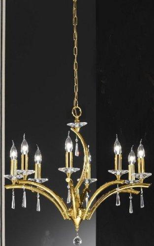 Bankamp Kronleuchter Krone Gold 8-flg. Modern Design Kristall 1119/8-26