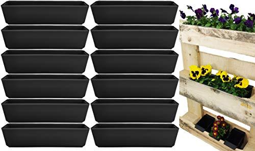 My-goodbuy24 Pflanzkasten für Paletten - 12 Stück - Blumenkästen Kunststoff Einsatz für Europlatten Deko Garten Pflanzschale - anthrazit