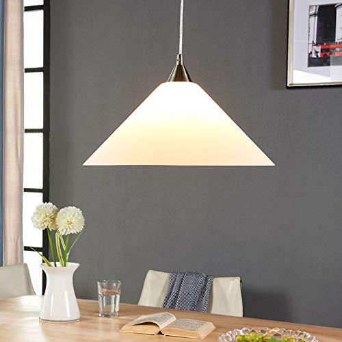Lampada a sospensione 'Petra' (Moderno) colore Bianco, in Vetro ad es. Cucina (1 luce, E27, A++) di Lindby | lampada a sospensione in vetro, lampada a sospensione, lampada a sospensione per tavolo da
