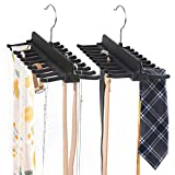 SMARTAKE 2 Pack Tie Racks, 360 Degree Roating Belt Holder with 20 Hooks, Non-Slip Durable ABS Double Row Belt Hanger Scarf Organizer Accessories Holder for Ties, Necklace, Scarf and More, Black