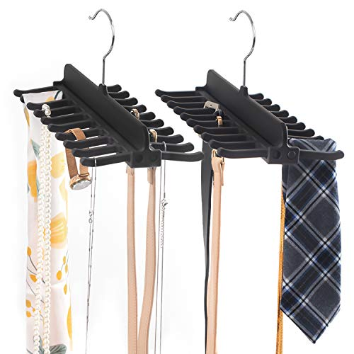 SMARTAKE 2 Pack Tie Racks 360 Degree Roating Belt Holder with 20 Hooks Non-Slip Durable ABS Double Row Belt Hanger Scarf Organizer Accessories Holder for Ties Necklace Scarf and More Black