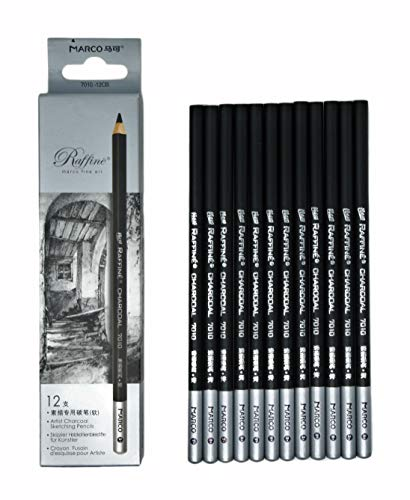 12pcs/pack Artist Charcoal Pencils - Black Color Soft Medium Hard - White Pastel Color - Black Charcoal White Pastel Drawing Pencils (Medium)