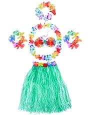 BESPORTBLE 1 Juego de Fiesta Hula Hawaii Vestido Falda de Hierba Conjunto Collar de Flores Tropicales Pulseras Diadema Falda Sujetador para Damas Verde