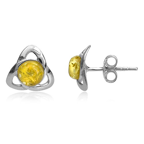 Amber Sterling Silver Celtic Stud Earrings
