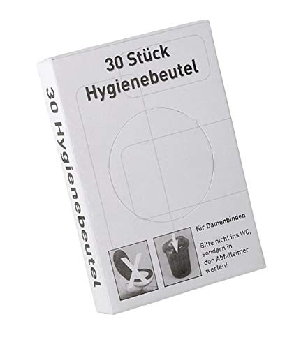 Hygienebeutel aus Polyethylen (PE) im Spender, PE-Hygienebeutel weiß, Damenhygiene-Beutel für Damenbinden & Tampons, Hygienebags für Hotels & Sanitäranlagen, Größe:20 Stück