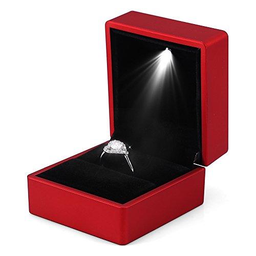 Caja de anillo LED de moda Caja de anillo iluminada para propuesta de matrimonio Caja de anillo con iluminación interna LED Boda de compromiso(Rojo)