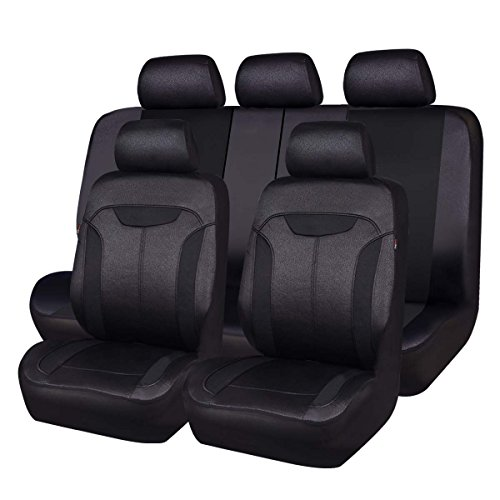 Car Pass Montclair Universal Fit Car Seat Covers with Opening Holes for Headrest and Seat Belts - Black