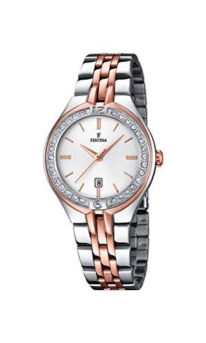 FESTINA Reloj Modelo F16868/2 de la colección Mademoiselle, Caja de 32,5 mm Plata con Correa Acero-Bronce para señora