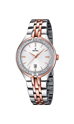 Festina F16868/2 - Reloj de Pulsera Mujer, Acero Inoxidable, Color Plateado