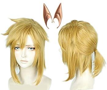 Linfairy Short Blonde Wig Halloween Cosplay Wig For Men Braid with 2 Elf Ear