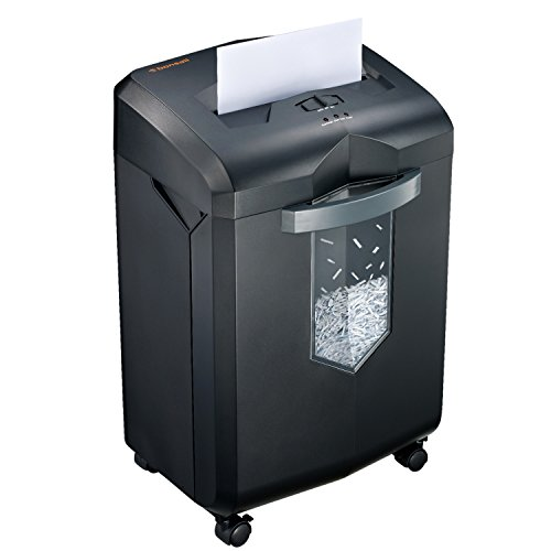 Bonsaii Updated 60-Minute Heavy-Duty Micro-Cut Paper Shredder, 12-Sheet Shredding Capacity for Office and Home Use, Destroys Credit Card/Staples/Clips, 6-Gallon Pullout Wastebasket, Black (C149-D)