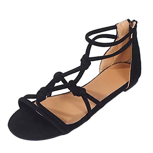 Sandalen Damen, TIFIY Sommer DamenGroße Flache Strand Roma Stiefel Flache Schuhe Solide T-Strap Aushöhlen Sandalen Offene Zehensandalen(Schwarz,37 EU)