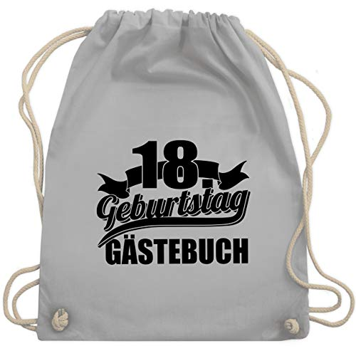 Shirtracer Geburtstagsgeschenk Geburtstag - 18. Geburtstag Gästebuch - schwarz - Unisize - Hellgrau...