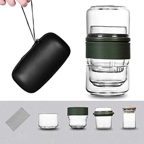Botella de agua, bolsa de viaje, set de té chino, tetera, tetera, taza de cristal, taza de feria, set de té de cerámica, regalo de puer, vajilla (verde)