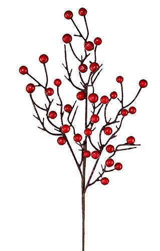 Künstlicher BEERENZWEIG ca 54 cm. Zweig mit Beeren in ROT
