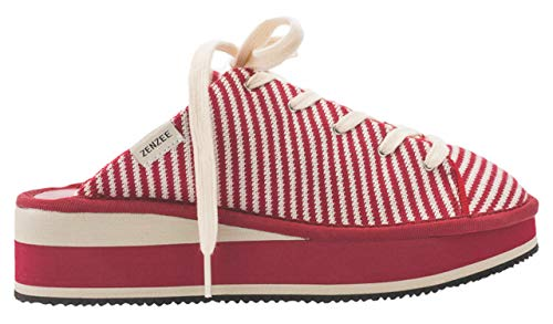 Zenzee Women's Designer Slip-On Platform Sneakers by Designer, Comfy Women's Knit Mules, Red Stripe Design, Women's Shoe Size 8, Perfect for Indoor and Outdoor Wear