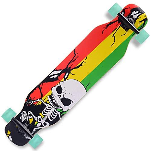 Skateboard Longboard Toller Midi Cruiser als Komplett Board wendiges Kick Tail Mini Longboard aus Holz im Vintage Skateboard-Style mit High Speed ABEC 9 Kugellagern