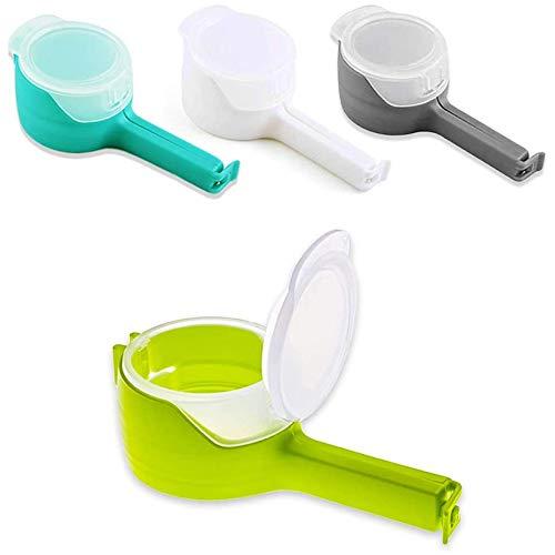 Kuinayouyi Paquete de 4 clips de sellado para bolsas de almacenamiento de alimentos con boquillas, clips para bolsas de virutas, ideales para almacenamiento y organización de alimentos de cocina.