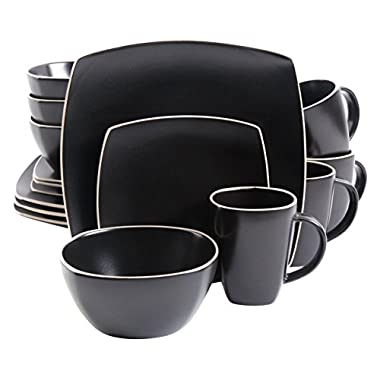 Gibson Home Soho Lounge Matte 16 Piece Dinnerware Set, Black