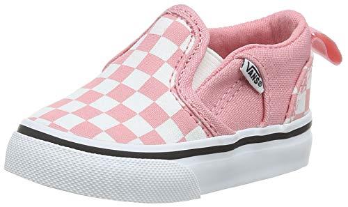 Vans Asher V-Velcro, Sneaker Unisex niños, Tablero de ajedrez Rosa Blanco glaseado Wf9, 22.5 EU