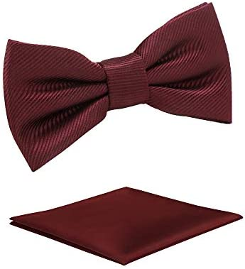 Boys Solid Pre tied Bow Ties Burgundy Red Adjustable Tuxedo Bowtie For Boy With Multiple Colors product image