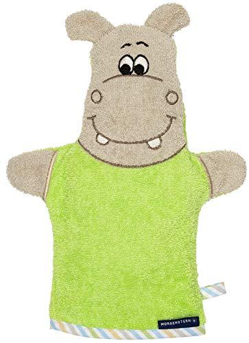 Morgenstern Kinderwaschlappen Baby Waschhandschuh mit Nilpferd Motiv in Grün