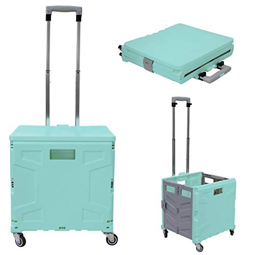 Foldable Utility Cart - 4 Wheeled Rolling Crate Universal Rolling Cart Portable Grocery Cart, Collapsible Shopping Cart with Telescoping Handle for Shopping Luggage Tools Office (Green Grey)