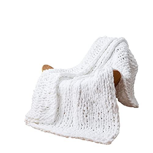 YT-KOKE Klobige Einfache Strickdecke, Handgefertigte Weiche Einfarbige Decke, Gemütliche und Warme Kabel Gestrickte Fischgrätdecke für Sofa und Wohnkultur (White)