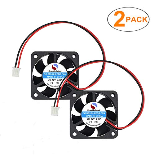 SoundOriginal 2pcs 4010 Brushless DC Cooling Fan 12V 0.06~0.15A 40x40x10mm Speed 6800 RPM Fans for Computer case 3D Printer Humidifier and Other Small Appliances Series Repair Replacement