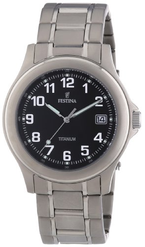 Festina Herren Analog Quarz Uhr mit Titan Armband F16458/3