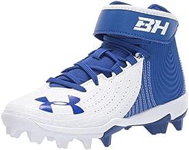 Under Armour Boys' Harper 4 Mid RM Jr. Baseball Shoe, Royal (400)/White, 2.5