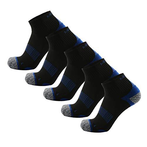 MEIKAN Calcetines De Deporte, para Hombre, Mujer y niño,5 Pares Calcetines De Corte para Correr Negro/Azul, EU44-47/(UK9-11)