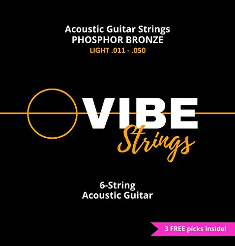 Vibe Acoustic Guitar String Set, Phosphor Bronze, Vacuum Packed – Warm Bright, Clear Tone,...