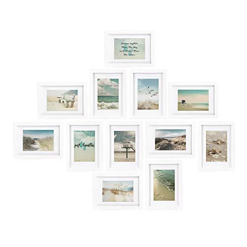 bomoe 12er Set Bilderrahmen Ocean Bilder-Collagen Fotorahmen aus Holz, Kunststoffglas, Metall-Wandaufhängung, Stand-Aufsteller und Passepartout - 12 Holzrahmen á 13x18cm - Weiß